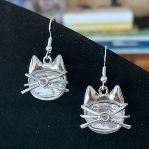 Swarovski Crystal Cat Earrings